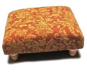 Biagi Upholstery & Design Floral Patterned Chenille Footstool on Solid Wood Legs