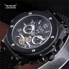 JARAGAR Men Luxury Black Rubber Tourbillion Day Automatic Mechanical Wrist Watch