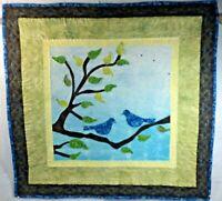 """Love Birds Art Quilt 29 1/2"""" by 28 1/2"""" Handmade Blue"""