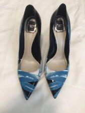 Christian Dior Metallic Blue Painted Leather Cherie Pumps Pumps Shoe 40