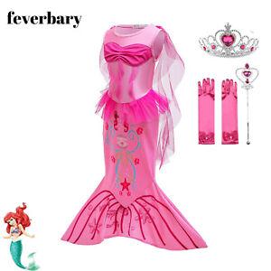 girls kids The Little Mermaid Princess Ariel Cosplay Fancy Dress Costume
