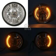 "7"" 35W H4 Crystal Halogen LED Headlight Angel Eye For Chopper Cruiser Cafe Racer"