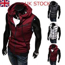 UK Mens Cardigan Sweater Zip-Up Coats Sleeveless Hoodie Hooded Sport Gym Jacket