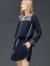 GAP Long sleeve embroidered dress, true indigo SIZE MT (1131A2)