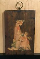 Vintage Old Angel Guarding Baby Plaque Wooden With Paper Cut Our Decal