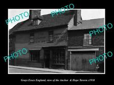 OLD LARGE HISTORIC PHOTO GRAYS ESSEX ENGLAND, THE ANCHOR & HOPE TAVERN c1930