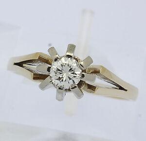 Solitär Ring in 14 kt 14k 585 er Gelb Weiß Gold mit Brillant Diamant Solitärring
