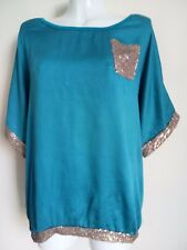 NEW SEQUINS T-SHIRT TOPS SEQUINS BLOUSE TUNIC BLUE BLOUSE STUNNING TRENDY TOPS