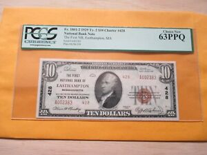 1929 TYPE 2-$10 THE FIRST NATIONAL BANK OF EASTHAMPTON MASSACHUSETTS PCGS 63PPQ