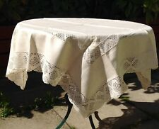 Vintage Cream Linen Square Tablecloth, With Insets Of Hand Crafted Lace Knit