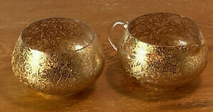 Vintage Gold 22 Karat Embossed Foil Lotus Quality Creamer and Sugar Bowl Set EUC