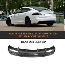 Carbon Fiber Rear Lip Bumper Diffuser Body Kit Fit For Tesla Model S Sedan 16-17