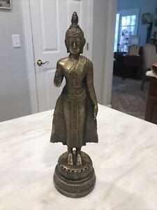 """Antique Bronze ?Thai Standing Ayutthaya ? Buddha Statue 13"""" Tall"""