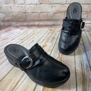 Crocs COBBLER Size 10 Black Leather Slip On Mule Clogs Shoes Wedge Heel Buckle