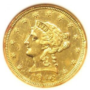 1846-C Liberty Gold Quarter Eagle $2.50 Charlotte. ANACS AU50 Detail. Ex-Jewelry