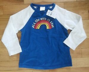 NWT HANNA ANDERSSON SUPER SOFT ALL YOU NEED IS LOVE BASEBALL SHIRT TOP 90 3 3T