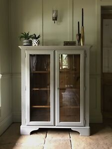 Solid Pine Ducal Painted Glazed Display Cabinet Bookcase Cupboard