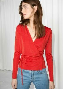 & Other Stories Womens Red Long Sleeve Stretch Wrap Tie Top Blouse size M L
