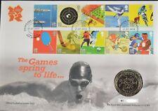 GB QEII FAR rintracciare COIN COVER 2010 GIOCHI A MOLLA IN VITA OLIMPIADI £ 5 Coin UNC Royal Nuovo di zecca