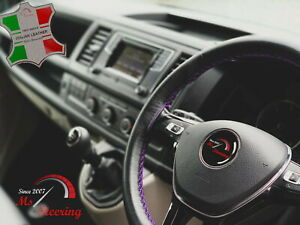 FOR FORD CONTOUR 95-00 BLACK LEATHER STEERING WHEEL COVER | PURPLE STITCH