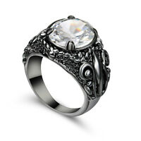 5.80/ct Lab diamond White Sapphire Engagement Ring Black Rhodium Plated Size 7