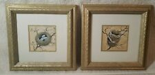 """Set Of Pictures Of Nests -Painted,Gold Square Frames 7 3/4"""""""
