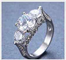 Amor 14ct Platinados Boda Anillo De Compromiso Cristal Diamante señoras tamaño 7