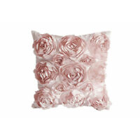 3D Flower Pattern Linen Cushion Cover Pillow Sofa Case Bed Decor Office Pink