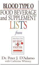 Blood Type O Food Beverage and Supplement List Pocketbook Peter D'Adamo WT46769