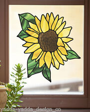 """CLR:WND - Sunflower Stained Glass Style Vinyl Window Decal ©YYDC (LG 9.5""""Wx10""""H)"""