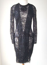 ZUHAIR MURAD Black Lace Sequin Jeweled Beaded Sheer Dress 10 12