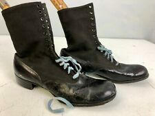 Antique Victorian Edwardian black leather shoes boots or Swimsuit Boots