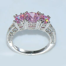 Size 8 Pink Sapphire Three Stone Wedding Band Ring 10KT White Gold Filled Gift