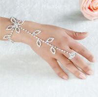 Punk Rock Glitter Rhinestone Hand Harness Bracelet Slave Chain Link Finger Ring