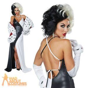Adults Ladies Cruel De Ville Diva Costume 101 Dalmations Fancy Dress Outfit
