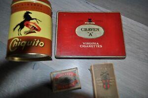 Lot de 4 boites Chiquito, Craven A, England's glory et Army Club