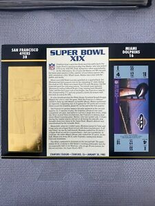22KT GOLD SUPER BOWL 19 XIX 49ERS VS DOLPHINS OFFICIALLY AUTHORIZED NFL TICKET
