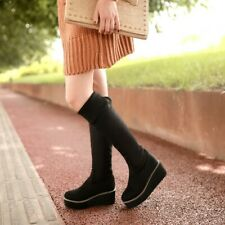Womens Round Toe Wedge Heel Knee High Boots Platform Stretch Bootie Shoe Slip On