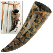Scales Medieval Viking Norman Germatic Brown Holder Drinking Beer Bovine Horn