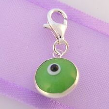 9mm GREEN EVIL EYE PROTECT CLIP CHARM STERLING SILVER