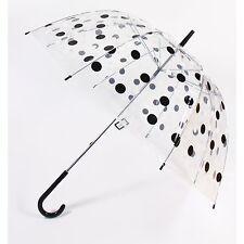 Ladies Umbrella Negro Y Blanco De Lunares Damas cúpula Brolly/brollie los días de lluvia