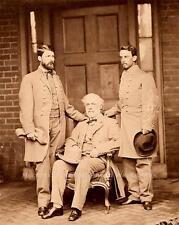 CIVIL WAR ANTIQUE PHOTO CONFEDERATE GENERAL ROBERT E LEE AND STAFF 1865  #20919