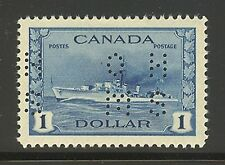 Canada #O262, 1942 $1 Destroyer - War Issue OHMS Perfin, Unused Very Light Hinge