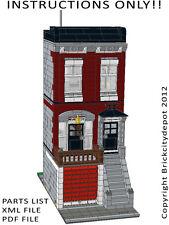 Lego Custom Modular Building - City Townhouse -INSTRUCTIONS ONLY 10197 Alternate