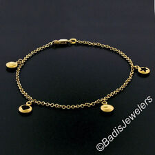 """14K Yellow Gold 9"""" Cable Link Ankle Bracelet w/ Puffed Open Heart & Star Charms"""