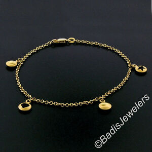 "14K Yellow Gold 9"" Cable Link Ankle Bracelet w/ Puffed Open Heart & Star Charms"