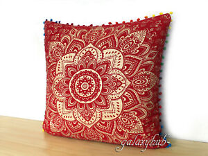 "New Cotton Cushion Cover 24"" Red Gold Pillow Cover Mandala Cushion Cover Throw"