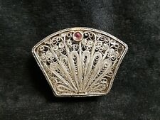 Vintage Pill box (peacock's tail) (silver)