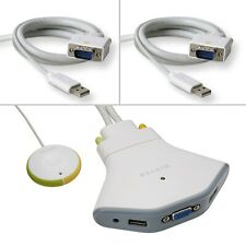 More details for new belkin flip 2-port usb + vga kvm switch with wired remote f1df102u + cables