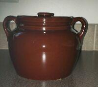 Vintage ~ Brown Glazed Bean Pot ~ Side Handles & A Lid ~ USA